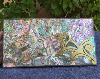 Taxco box Salvador Teran Mexican inlaid mosaic abalone mother-of-pearl brass keepsake trinket jewelry box circa 1960 butterfly flower
