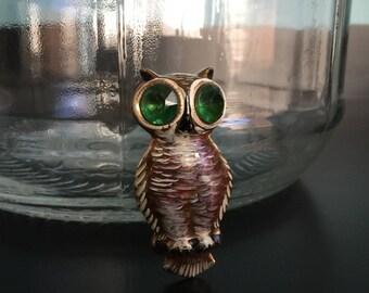 """Vintage owl brooch handpainted metal green rhinestone eyes 2-1/2"""" high"""