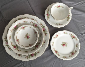 Johann Havilland Moss Rose SIX-piece 6-pc place setting antique vintage Bavaria backstamp back stamp