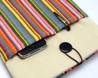 SALE - iPad Air case, iPad cover, iPad sleeve with 2 pockets, PADDED - Colourful strip (95)