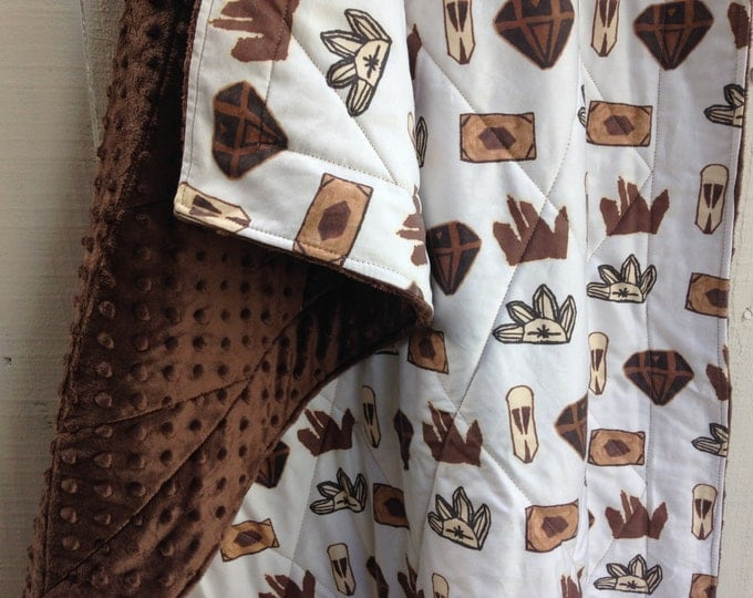 CLEARANCE - Organic Cotton and Minky Baby Quilt - Cuddly Crib Quilt - Smokey Quartz Crystals and Brown, Gemstone Quilt