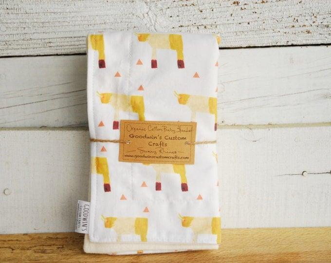 Organic Baby Blanket - Sunny Rhinos
