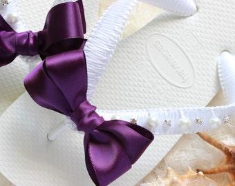 Bridal flip flops, Eggplant Bridal Shoes, Pearl Crystal flip flops, Beach Wedding Flip Flops satin, Dark purple - CUSTOM colors available