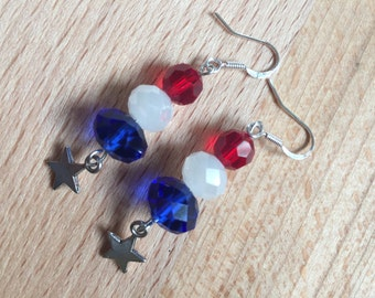 Red white and blue earrings, Memorial Day jewelry, Patriotic earrings, American flag earrings, , 4rth of July,
