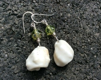 Hawaiian Shell, Green Czech Glass, Sterling Silver Earrings
