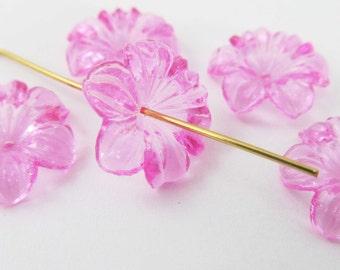 20 Vintage 14mm Transparent Pink Acrylic Flower Beads Bd1882