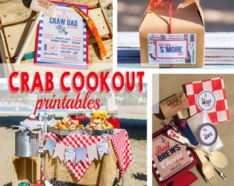 Crab Cookout Birthday Invitation, DIY, Printable Crab boil birthday invite, Lobster boil invitation, Seafood boil party set