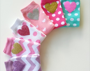 Fun Colorful Legwarmers with Glitter Hearts for Girls and Babies