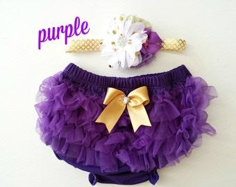 Pretty Purple Chiffon Ruffle Bloomers and Matching Headband Baby gift 1st birthday