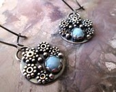 "Blue Larimar ""Urchin"" Mosaic Sterling Silver Dangle Earrings Jewelry"