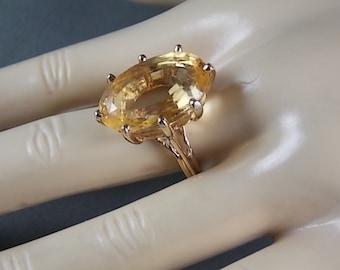 Honey Citrine 22 Carats Yellow Gold Basket Mounting 14K 7.6gm Size 8 November Birthstone  Statement Ring