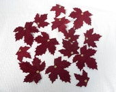 14 Autumnal Rich Red Maple Leaves Flocked soft craft Supply Fall Christmas Holiday Decor