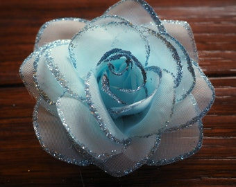 Hair Clip:   BABY BLUE Glitter Rose Alligator Clip - With Free Headband