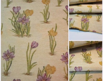 """Upholstery r Fabric - Remnant-Upholstery Fabric -Floral Upholstery - Posterstoff Blumen pc  w 26""""x35""""Long"""