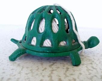 Green Turtle String Dispenser Floral Frog Cast Iron Vintage