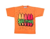Splattered 80s Neon Surf Mania Big Print T-Shirt - L