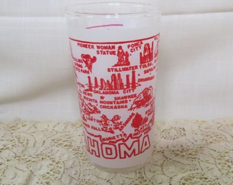 Oklahoma Souvenir Tumbler Glass Federal Glass Kitchen Ware Kitchenware