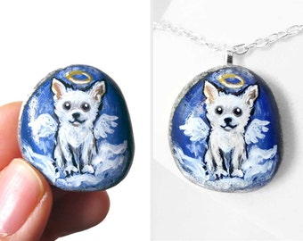 Dog Necklace, Chihuahua Art, White Dog Angel Pendant, Pet Memorial, Sympathy Gift for Her, Pet Jewelry, Guardian Angel, Pet Loss, In Memory