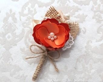Orange Copper Burlap Boutonniere/ Fall Rustic Boutonniere/Country Wedding Lapel Pin/ Handmade Wedding Accessory