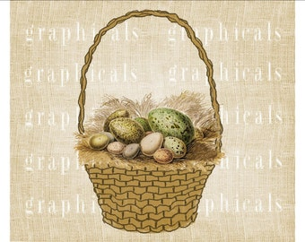 Easter egg basket Instant clip art Digital download image for iron on fabric transfer burlap decoupage pillows tote bags clip art No. 1800