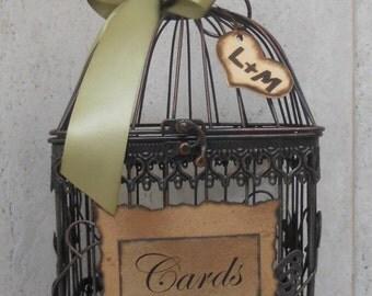 ON SALE Small Wedding Card Box Birdcage / Rustic Romantic Birdcage Wedding Card Holder / Gift Table Cardholder