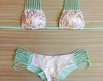 Gold & Mint Strappy Scrunch Butt Cheeky Bikini