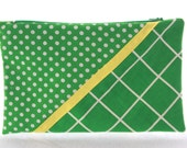 Green And White Printed Zip Pouch