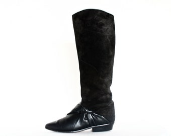 PRICE DROP // Vintage Italian Made Leather & Suede Knot Tie Riding Boots Size 6B