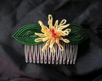 Yellow Bead Flower Comb