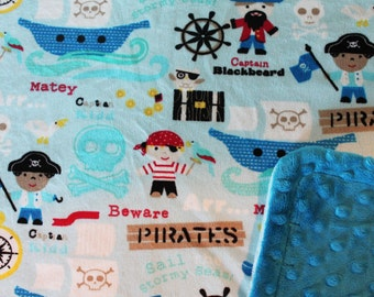 Minky Blanket Pirate Print Minky with Teal Dimple Dot Minky Backing - Perfect Size a Toddler or Child