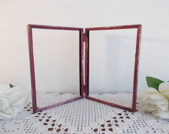burgundy red wine picture frame up cycled vintage metal rustic shabby chic double sided hinged photo decoration country home wedding decor