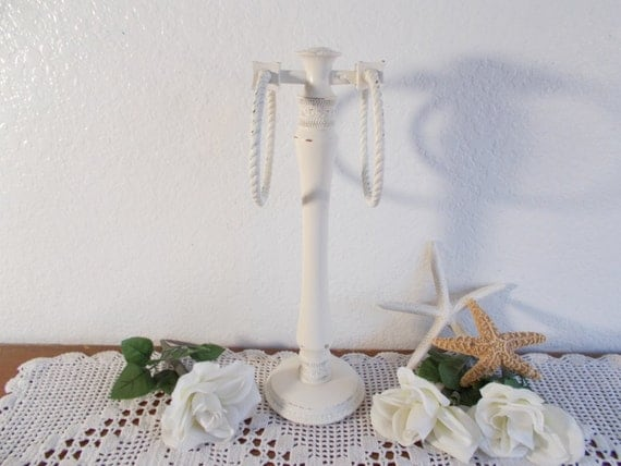 Antique white shabby chic hand towel rack upcycled vintage for Shabby chic towel stand