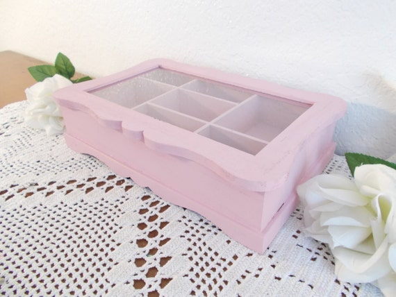Pink Shabby Chic Jewelry Box Up Cycled Vintage Wood Storage Organizer Paris Apartment French Country Farmhouse Romantic Cottage Home Decor