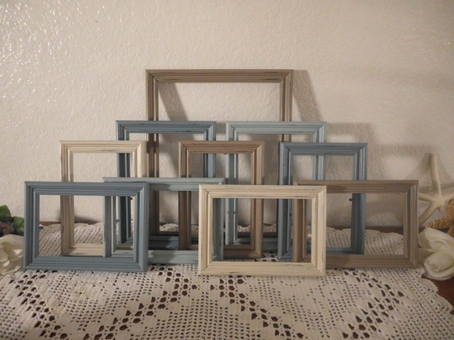 Beach Cottage Frame Set Rustic Shabby Chic Distressed