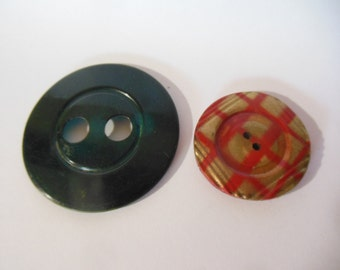 2 Vintage 1930's Large Metal Buttons