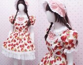 Kawaii Strawberry Dress with White Chiffon Ruffle Skirt and Lace - Strawberry Shortcake Dress - Sweet Lolita Dress -Custom to your size