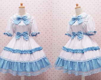 White Princess Dress with Blue Tartan Ribbon and Laces - White Classic Lolita Dress - White Sweet Lolita - White Princess Dress