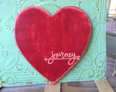 Red and Coral Heart Journey Sign, Large Wooden Heart Hanger, Home Decor Heart, Gallery Wall  Heart