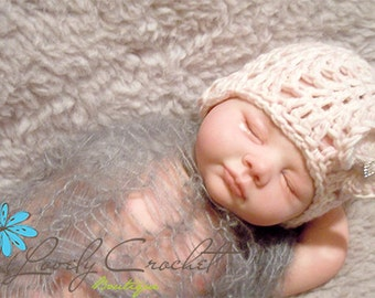 Newborn shell soft pink hat with rhinestone-crochet newborn photo prop