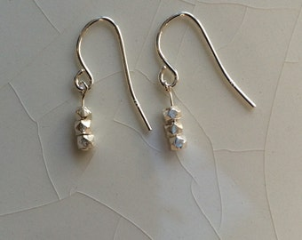 Tiny Sterling Silver Stick Bali Nugget Bead Dangle Earrings