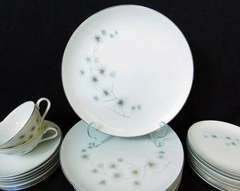 Vintage Creative Fine China -Platinum Star Burst - Pattern #1014 – 1950's Dinnerware and Serving Pieces