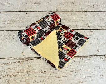 Mickey Mouse Minnie Mouse Inspired Minky Blanket