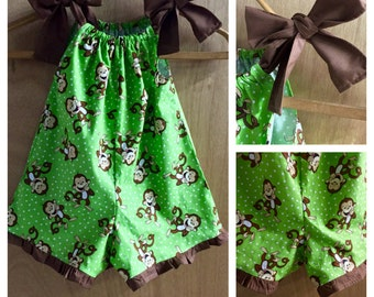 Pillowcase Monkey Shorts Romper, size 2t