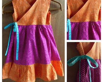 Hippie/Boho Polka Dot Wrap Dress, girls size 5