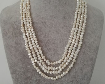 pearl necklace, Baroque pearl necklace, cultured 4-5 mm white  freshwater pearl necklace