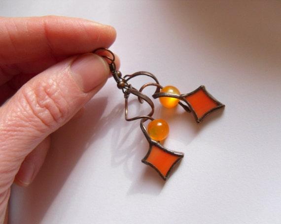 Stained Glass Earrings Bohemian Jewelry Orange By