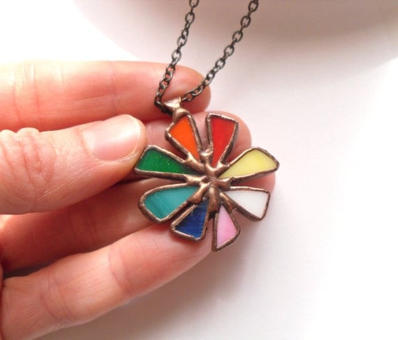 Statement necklace, stained glass jewelry, colorful jewelry, contemporary necklace, gift for women, boho style, rainbow