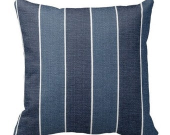 Blue Outdoor Pillows, Decorative Striped Outdoor Pillows,Patio Decor, Outdoor Throw Pillows, Patio Pillows, Pillow Covers