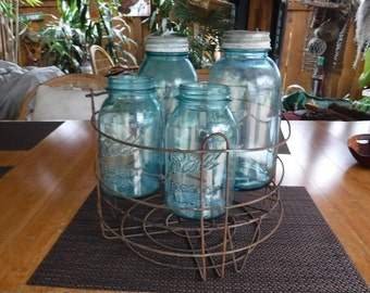 Ball Perfect Blue mason jars with wire stand #5, 6, 7 and 10