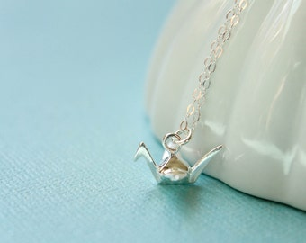 Small Origami Crane Necklace, Available in Sterling Silver, Vermeil, and Rose Gold Vermeil, Three-Dimensional Crane